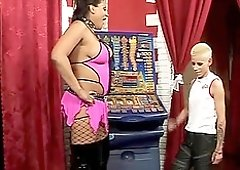 Short haired blonde gets her firm ass punished by a kinky mistress