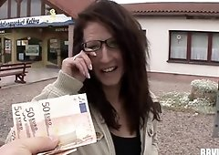 Big-Boobed german prostitute gets pummeled for currency
