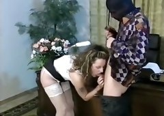 Filthy white office chick in white lingerie and stockings loves wicked sex