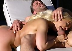 A blonde with a nice rack is fucked in her hot pretty face