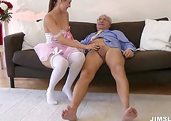 A pretty pink ballerina dress on the brunette chick gets him hard