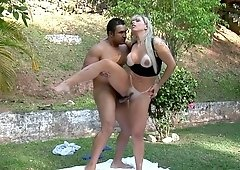 Tanned blonde is cheating on her husband