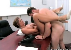 Latina MILF bombshell Monique Fuentes gets harshly fucked at her office