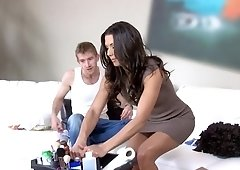 Alexa Tomas gives oiled handjob then rides the huge dick for a phat load