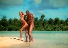 Blonde gets sand and cock inside her cunt