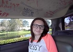 Nerdy slut Kelsey Kage gets her throat & pussy fucked hard in the backseat