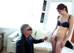 A skinny redhead gets naked and she gets her pussy filled up