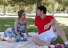 Sensual hottie Rebel Lynn is having dirty outdoor sex in the park