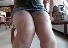 Fat shaved pussy under cafe table