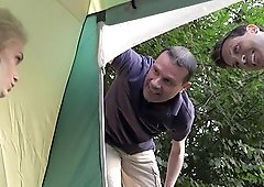 Short haired Mila Milan gets fucked in her tent during a camping trip