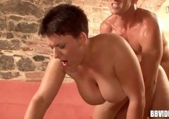 Short-haired chubby pounded in the most hardcore way
