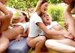 Fantasy group sex in outdoor along girls avid for cock