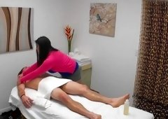 Impressive cock dealing massage session with a hot masseuse