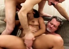 Delightful young babe Olivia Winters has sex with two horny old guys