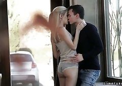 Almost flat chested but still pretty Hungarian blondie Monique Woods rides dick