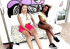 Ebony and Latina babes are both ready for awesome blowjob workout