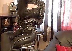Longnails and black latex dress