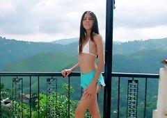 Venezuelan hottie Mily Mendoza has a toy to pet her wet pussy a bit