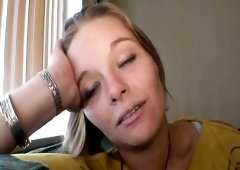 Homeless blonde with a cute smile puts her mouth to work on a big dick
