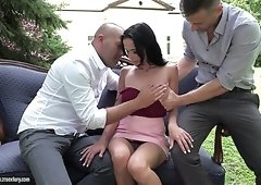 Beautiful girl Nicole Love gets a bouquet of roses and hard double penetration