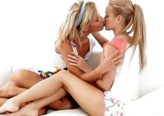 Young And Sexy Lesbian Love On The Bed