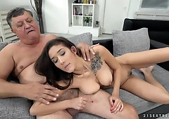 Big tits beauty sucks his grandpa cock
