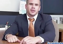 Inked Hunk Dominates His Boss In Office