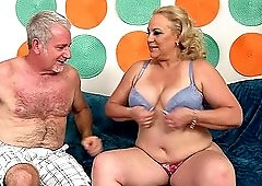 Chubby mature blonde MILF Stunning Summer gets cum on her huge tits
