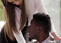 Stressed out colleagues have interracial anal sex