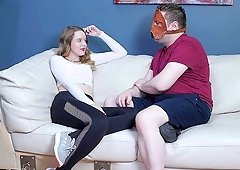 Cute pale chick shows off her hole to a kinky guy with a mask
