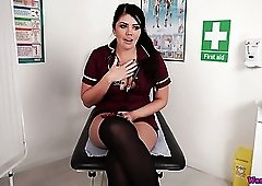 Amazing big breasted nurse Kylie K desires to tickle her wet slit a bit