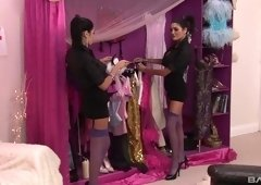 Kit Lee and Kat Lee are horny brunettes interested in a cock