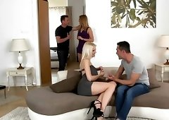 Glamour babes on high heels are having an awesome foursome