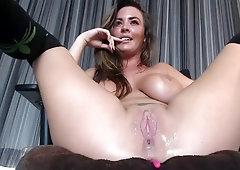 slutty wife with big tits squirts cum