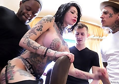 Interracial gangbang gets Megan Inky all sticky with cum