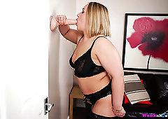 Buxom a bit plump blondie in black stuff Ashley Rider wanks a suction dildo