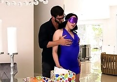 Birthday threesome for his naughty and needy girlfriend
