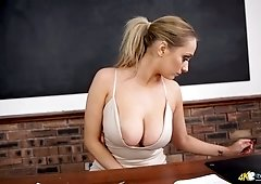 Filthy teacher Rachael C and her popping out of shirt boobs