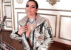 Shiny silver outfit looks sexy on Eve Angel