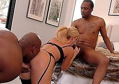 Blonde chick India Summer gets her delicious pussy fucked by two guys