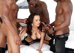 Many big black cocks and cum for busty sluty MILF Lisa Ann