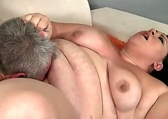 Very big woman wants to get fucked hard by old senior