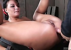 Slave in bondage fucked up the ass