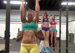 Group of hot amateur babes with huge boobs Ava Cash and Cali Carter and Rainia Belle having training in the gym then they fucking and sucking coachs b