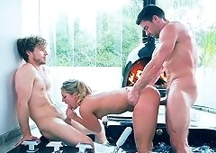 Great threesome session with insatiable chick Candice Dare