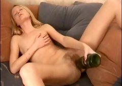 Astonishing blonde chick shoves her hairy cunny with a bottle