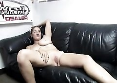 Sexy chick in the motorcycle shop strips for your pleasure