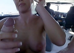 Awesome FFM threesome in the van with two sex dolls