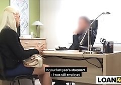 Huge boobs MILF blonde really needs a business loan to open her online shop so she came to this shady loan office to get it