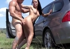 Road trip ends with hard sex for amateur Angelina Wild